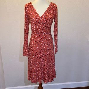 Boden Size 6 Orange Print Faux Wrap Dress